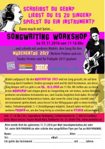 Flyer Mädchentag Songwriting Workshop